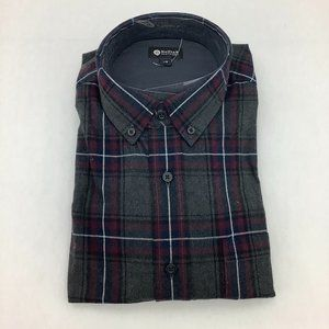 Haggar | Men's Button Up Plaid Shirt | Red & Grey